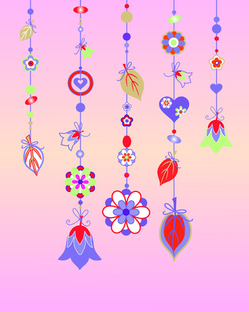 Vector Illustration of Decorative Wind Chimes with floral ornament design Stock Vector - 4992079