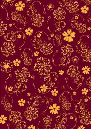 Vector illustration of  yellow  funky flowers abstract pattern on red background Vector