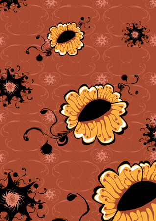 Vector illustration of   funky yellow flowers abstract pattern on brown background Vector