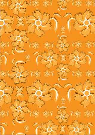 Vector illustration of floral abstract background in sunny, orange colours Vector