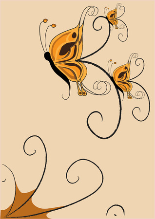 Vector illustration of  funky retro butterflies  abstract pattern  Vector