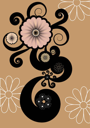 Vector illustration of floral abstract retro background. Includes the floral elements and flowers in different sizes and colours. Vector