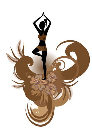 Vector illustration of woman  practisig yoga tree pose with stylized hibiscus and others floral elements  Vector