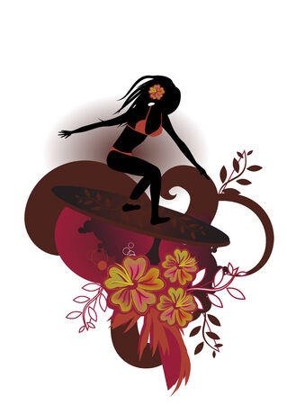 Vector illustration of a very curvy female surfer emerging fom the waves with stylized hibiscus and others floral elements Vector