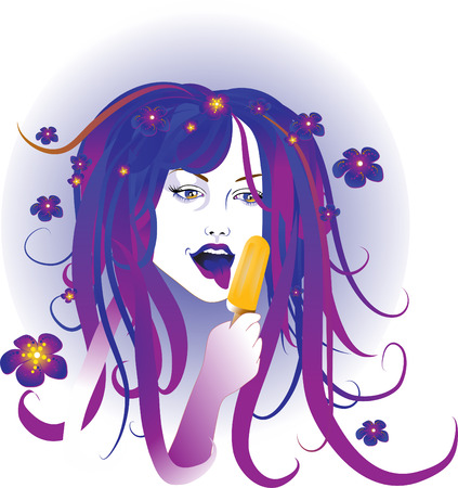 Vector Illustration of the beautiful woman eating ice cream. Vector