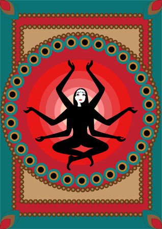 Vector illustration of stylized fairy Indian woman , seatting in lotus pose on the sunny, red background Vector