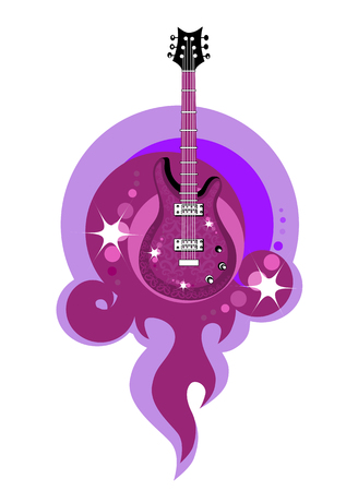 Vector illustration of an stylized  acustic guitar on the fire voilet background