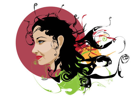 Vector illustration of woman  portrait with stylized scrolls and others grunge swirl elements  Vector