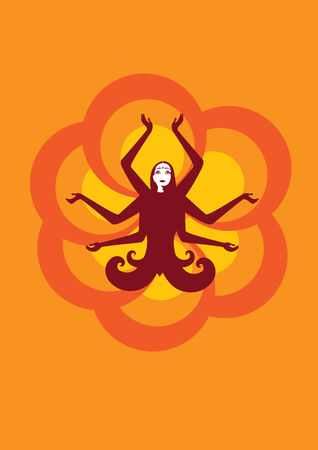 Vector illustration of stylized fairy Indian woman , seatting in lotus pose on the sunny, flower background Vector