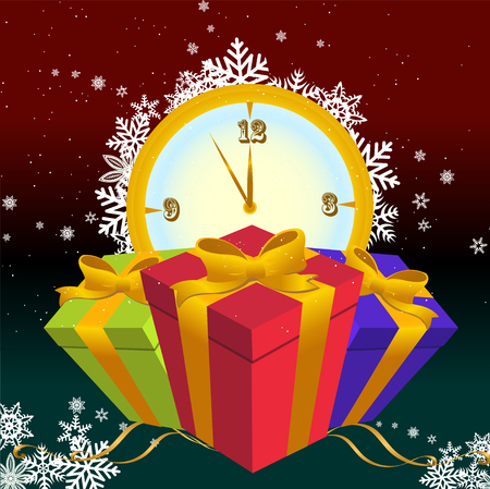 12 o'clock: Vector illustration of Colorful new year party background. Design element for new-year congratulations.