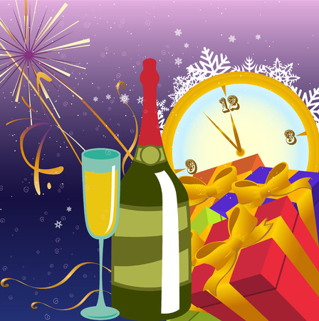 Vector illustration of Colorful new year party background. Design element for new-year congratulations. Vector