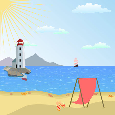 Vector illustration of  lighthouse on a beach with boat and reflective sea water  Vector
