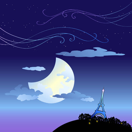Vector Illustration of the Eiffel Tower built by Gustave Eiffel, on the Champ de Mars beside the Seine River in Paris, France  Vector