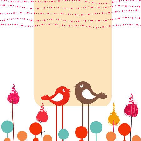uccelli su ramo: Illustrazione vettoriale di design retr� fiorito di auguri con due uccelli stile retr�