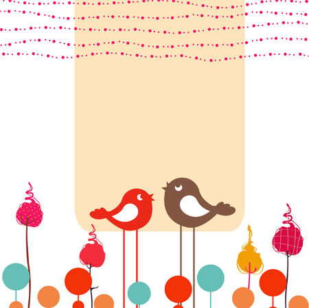 bird pattern: Vector Illustration of retro Flowery design greeting card with two retro-style birds  Illustration
