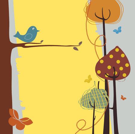 individualit�: Illustrazione Vettoriale di design natura retro biglietto di auguri con copia spazio per il testo Vettoriali