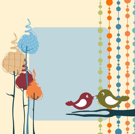 Ilustraciones Vectoriales de diseño retro naturaleza de tarjetas de felicitación con copia espacio para su texto Ilustración de vector
