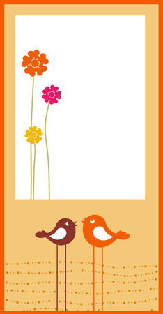 Vector Illustration of retro Flowery design greeting card with two retro-style birds Vector