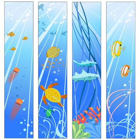 algas marinas: Ilustraci�n vectorial de pancartas coloridas conjunto con las criaturas de los mares. Friendly ni�os estilo.
