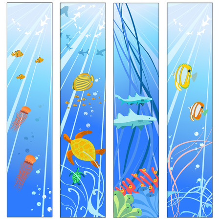 Vector illustration of Colorful banners set with creatures of the seas. Friendly kids style. Stock Vector - 5157149