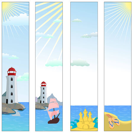Vector illustration of Colorful banners set with  lighthouse on a beach with boat and reflective sea water  Vector