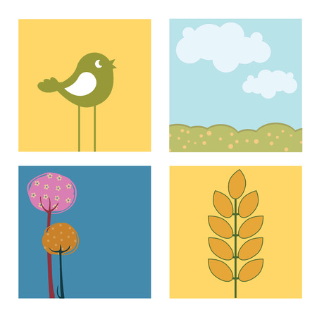 Vector Illustration of retro nature design Pretty summer pictures in Friendly kids style Vector