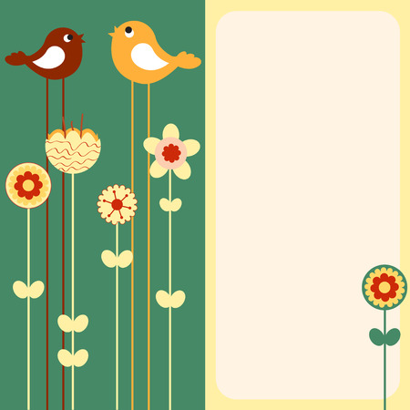 Vector Illustration of retro Flowery design greeting card with two of retro-style birds Vector