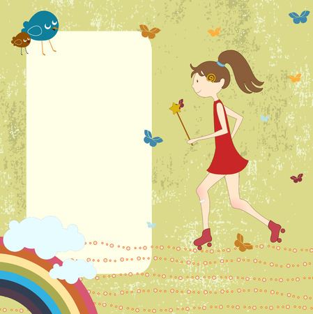 Vector Illustration of retro design greeting card with little girl on rollerblades and copy space for your text Vector