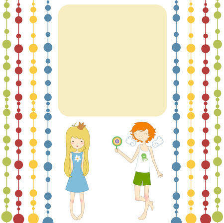 Vector Illustration of retro design greeting card with little girl and boy and copy space for your text Vector
