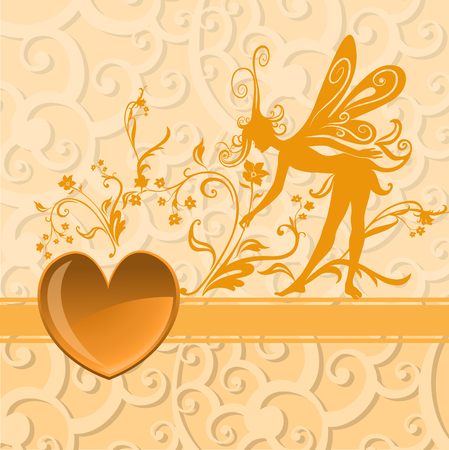 voluptuous: Vector illustration of Valentines Day background, decorated with beautifull heart with Silhouette of funky fairy Illustration