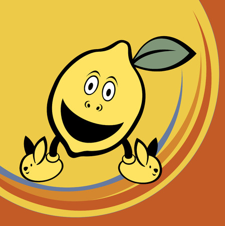 Vector illustration of funny and cute lemon on retro style Vector