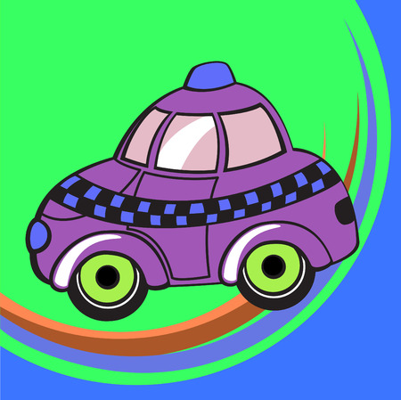 Vector illustration of  Transport Cartoon. Little funky taxi car. Vector