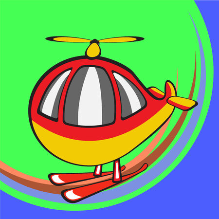 Vector illustration of Transport Cartoon. Little funny helicopter Vector