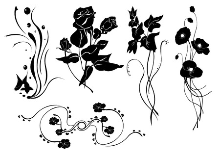 illustraition: Vector illustraition of retro abstract floral swirl elements