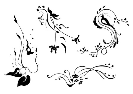 Vector illustraition of retro abstract floral swirl elements with flowers, fish, bird and butterfly Vector