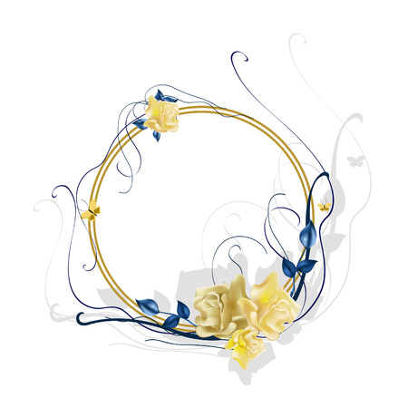illustraition: Vector illustraition of elegant floral frame with beautiful roses Illustration