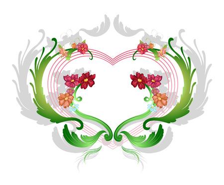 illustraition: Vector illustraition of elegant floral frame with heart shape
