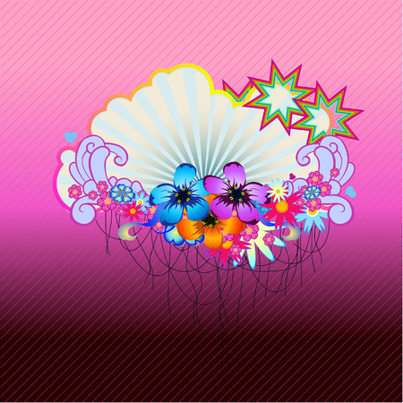 Vector illustraition of funky Abstract floral  border Illustration
