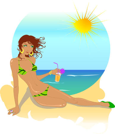 Vector illustration of beautiful woman on the beach drinking cocktail Vector