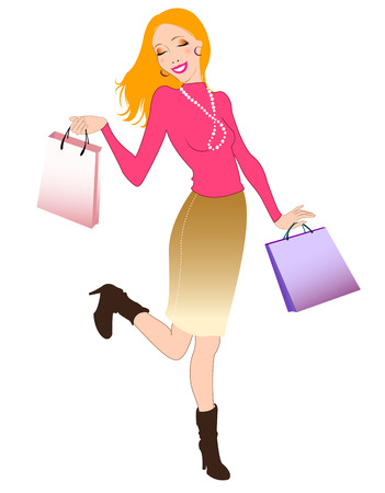 Vector illustration of beautiful woman during the shopping and holding the bags. Vector