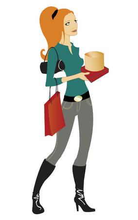 Vector illustration of beautiful woman during the shopping, holding the bags and boxes.