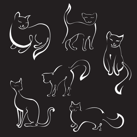 Vector illustraition of Cat Design Set made with simple line only Vector