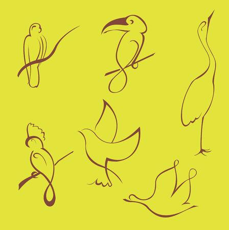 Illustraition vecteur de Bird ensemble de conception faite avec une simple ligne uniquement