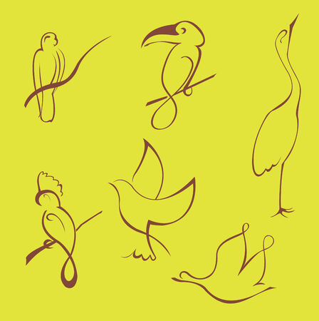 Vector illustraition of Bird Design Set made with simple line only Vector