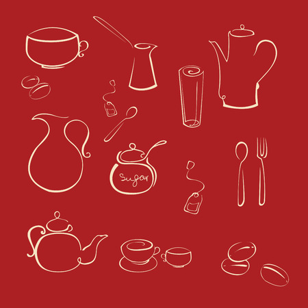 Vector illustraition of kitchen utensil Design Set made with simple line only Vector