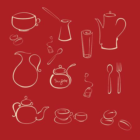 Vecteur de illustraition ustensile de cuisine Design Set faite avec simple ligne seulement