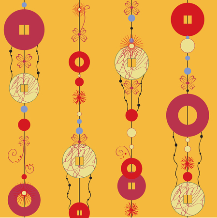 Vector  Illustration of   Decorative Wind Chimes with authentic ornament design Vector