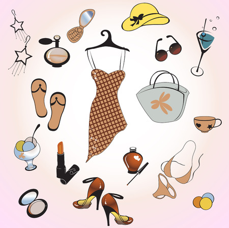 Vector illustration of different items related to glamour summer lifestyle. Stock Vector - 5600268