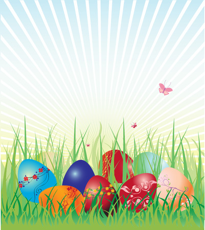 Vector illustration of Easter eggs on the beautiful green grass background. The edds are decorated with floral elements. Stock Vector - 5600277