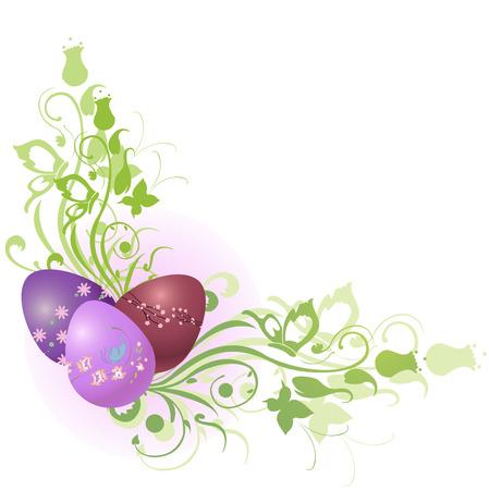 Vector illustratie van mooie bloemen frame versierd met Easter Eggs.